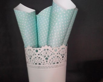 Shabby Mint Paper cones Set of 5  Mint baby shower  Shabby Chic party decor