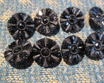 Original Set 8 Small Victorian 'Low' Mourning Black Glass Buttons Matte/Dull & High Brillance Glass