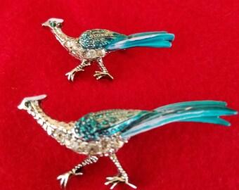 Vintage 2 pheasant brooch set.