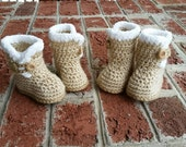 MADE TO ORDER Crochet Baby Uggs, Infant Boots, Baby Boots, 0-3 months, 3-6 months, 6-9 months, Tan, Baby Girl