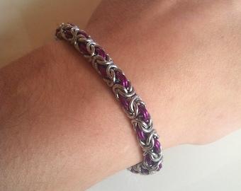 Byzantine Weave Bracelet - Silver and Purple