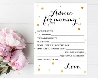 Mommy advice cards Fun baby shower games Baby shower printables Advice for the new mommy Baby shower games Advice for new mommy Calligraphy