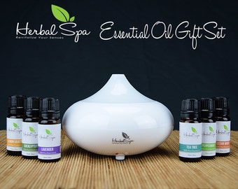 Herbal Spa Aromatherapy Oil Diffuser with Essential Oil Set 6pc 100% Pure Essential Oil