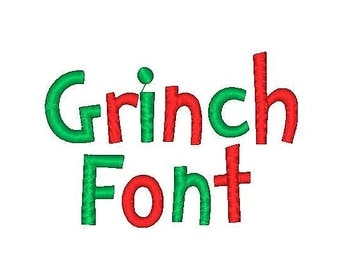 Grinch  Embroidery Font, 0.5,1,2 Inches, Instant Download
