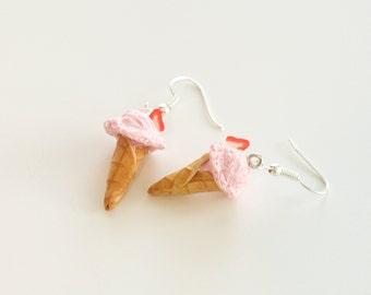 Strawberry Ice Cream Cone Earrings, miniature food jewelry, miniature ice cream cone earrings, strawberry ice cream, miniature ice cream