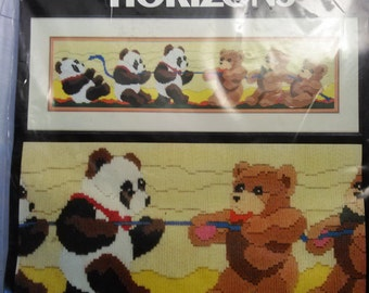 Vintage Crewel Embroidery Kit, Tug of War, Monarch Horizons, Roger Reinardy, Crewel Kit, Nursery,Panda,Bears