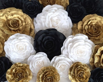 12 large Paper Flowers Giant paper flowers baby kate shower spade bridal wedding backdrop gold black wall Sparkle Glitter Gatsby nursery dec