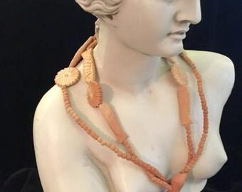 Terra Cotta Ceramic Bird Necklace