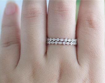 Wedding Band Set 14K White Gold Wedding Band Diamonds Engagement Ring/ Wedding Ring Matching Band/ Half Eternity Band/Diamonds Band/Gift