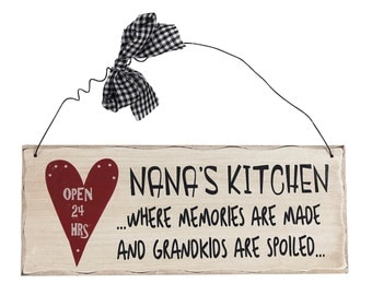 "NaNa's Kitchen Where Memories Are Made And Grandkids are Spoiled-Wooden Hanging Sign (10"" x 4"")"