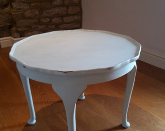 Vintage coffee table painted in duck egg blue chalk paint.