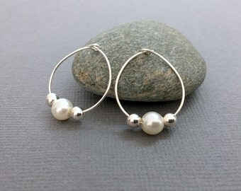 Silver hoop earrings, Sterling silver hoops, Pearl hoop earrings, Unique bridal jewelry, Pearl bridal earrings, Classic silver hoops