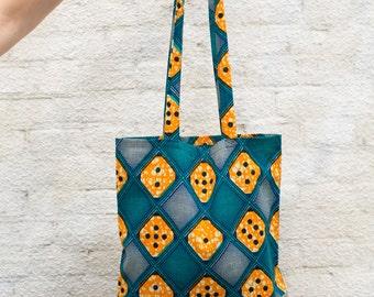 Bag with aqua African print