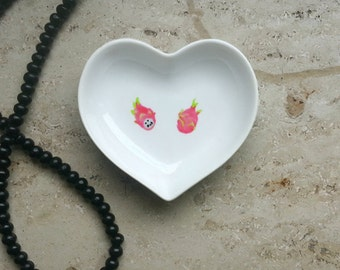 Painted Ring Dish Dragon Fruit Heart Shape