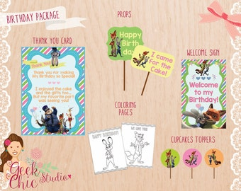 Zootopia, Zootopia Birthday Package, Zootopia Party Package, Zootopia Birthday,  Zootopia Party, Zootopia Printable, Zootopia favors