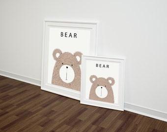 Cute Bear Illustrated poster