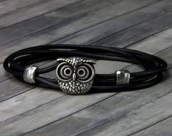 Owl Leather Bracelet – Leather Wrap Bracelet - Leather Bracelet - Mens Leather Bracelet - Womens Leather Bracelet – Owl Jewelry - Owl