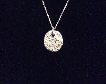 Silver textured charm  necklace