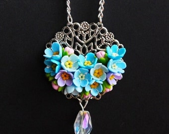 Forget me not necklace Blue flower jewelry Handmade jewelry Floral necklace Polymer jewelry Forget me not gift for her Flower pendant