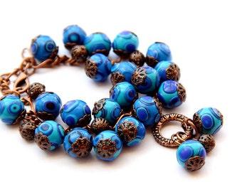 Women's jewelry bracelet  Blue Boho Beaded Bracelet Blue beads bracelet Beaded Bracelets for Women Blue Bead Bracelet Women Bohemian jewelry