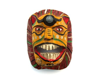 Hand-Painted Mexican Lion Mask