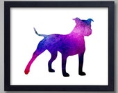 American Pit Bull Terrier Art Print - Proceeds to Shelters - Dog Wall Art - Abstract Digital Animal Painting
