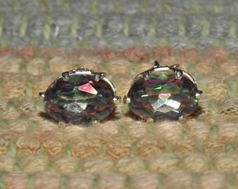 Rainbow Mystic Topaz 1.70 TCW 7 x 5 MM Oval Stud Earrings