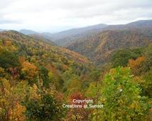 Digital Image, Smokey Mountains, Fall Colours Picture, Mountain, North Carolina, Digital Picture, Digital Download