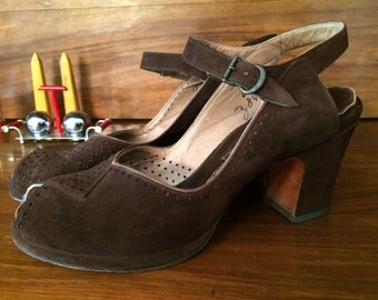 1940s Brown Suede Peep Toe Platform Pumps Shoes 6.5-7