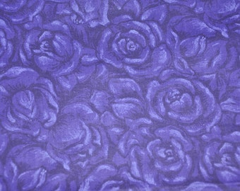 One Yard of Deep Purple Roses 100% Cotton Quilt Fabric