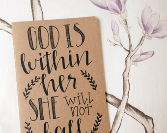 Hand Lettered Bible Verse Journal | God is within her