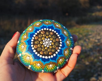 Gold and Blue Winter Mandala Flower- Hand Painted River Stone