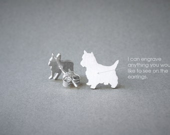 YORKSHIRE NAME Earring -Yorkshire Name Earrings -Yorkie Earrings - Westie Earrings - Dog Earring