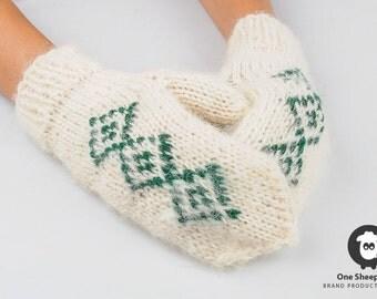 Woolen gloves, woolen mittens,mitten gloves, hand knitted mittens, warm woolen gloves, white gloves, winter warm mittens
