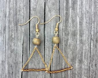 Gold Triangle Dangle Earrings