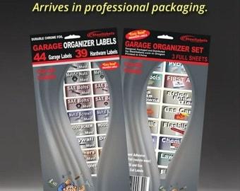 Garage Organizer Labels, Hardware Organizing Labels, Bin Organizer Labels, 83 Easy Read, Chrome Foil Decals