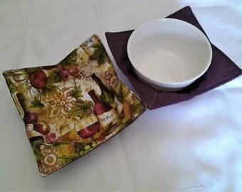 Microwave Bowl Cozy Purple Wine Bottle Hot Pad Trivet Textile Linens Kitchen Pot Holder Hot Pad
