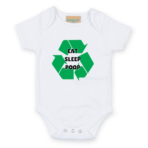 Eat Sleep Poop Recycle Baby Grow Body Suit Baby Onesie Sleep Suit sleepwear baby shower funny slogan gift present new born mum to be gift
