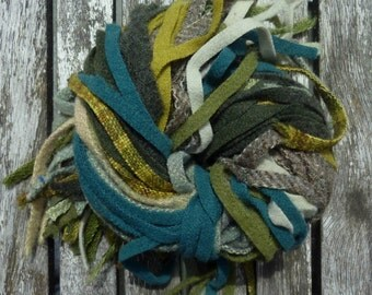 Reused Wool Strips for Rug Hooking - Leafy Green Blend