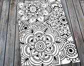 Floral Mandala Adult Colouring Page, Printable Colouring Pages Zen Doodle Art