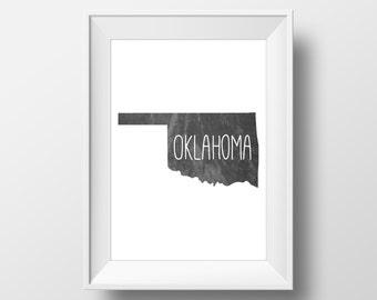 Oklahoma State Black Chalkboard Printable Art, Oklahoma State Print, Oklahoma Art, Modern Art,
