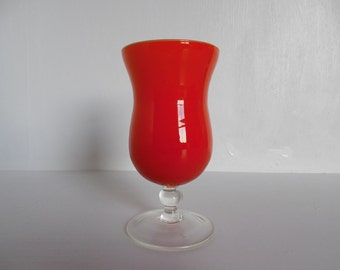 Orange cased glass vase, mid century, stemmed and footed, small
