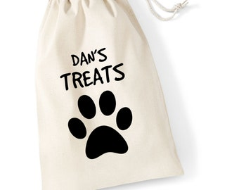 20cm x 14cm Personalised NAME Dog/Cat Cotton Drawstring Treat Bag With Paw Print Doggy Pooch