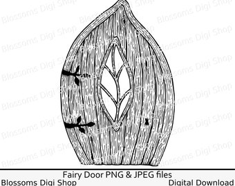Elf door clipart, instant download, leaf digi stamp, fairy door coloring, door scrapbook file, fae clipart, gnome png, wood door outline