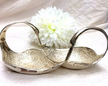 Vintage engraved silver plated double swan divided dish/tray. Candy/nut tray. Trinket dish. Catch all tray.