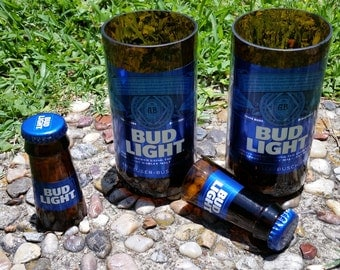 Set of 2 upcycled Bud Light glasses and 2 shot glasses