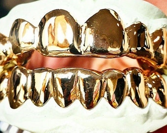 Custom 6 Piece Gold Grillz Silver, 10k Gold, or 14k Gold Top & Bottom Slugz Perm Style Solid