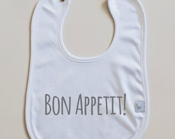 "Personalized Bib ""bon appetit"" for Babies in 100% Pima Cotton"