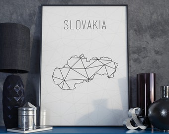 Slovakia map Slovakia art Slovakia print Geometric art Scandinavian style  Minimalist art gift for christmas Slovakia wall art home decor