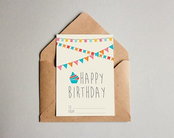 PDF PRINTABLE card happy birthday. Size A5 (148x210mm)